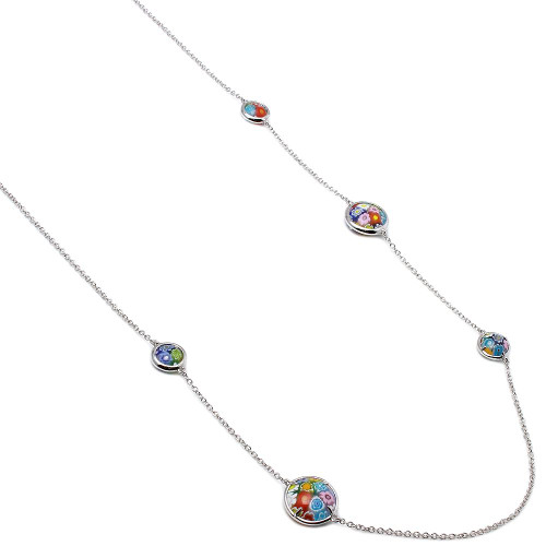 MULTICOLOR MURANO MILLEFIORI DOUBLE-SIDED ROUND NECKLACE 32""