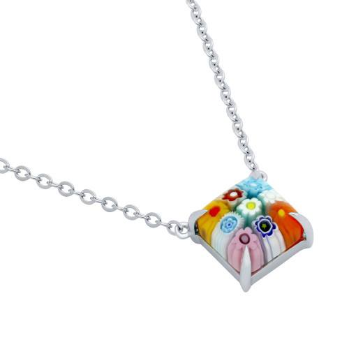 MULTICOLOR MURANO MILLEFIORI 10MM SQUARE NECKLACE 16+2""
