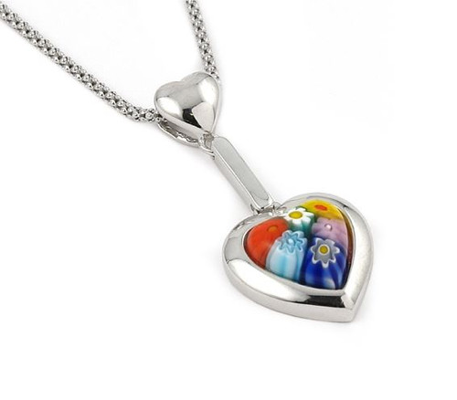 MULTICOLOR MURANO MILLEFIORI SMALL DANGLING HEART NECKLACE 16""