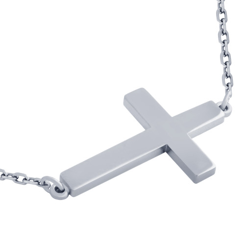 "RHODIUM PLATED PLAIN SHINY CROSS NECKLACE 16"" + 2"""