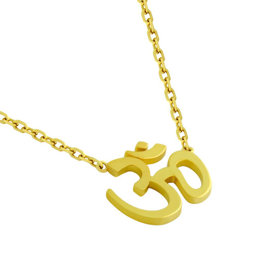 "GOLD PLATED HIGH POLISHED OM NECKLACE 16"" + 2"""