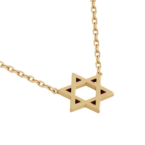 "ROSE GOLD PLATED HIGH POLISHED STAR OF DAVID NECKLACE 16"" + 2"""