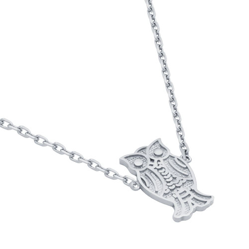 "RHODIUM PLATED OWL NECKLACE 16"" + 2"""