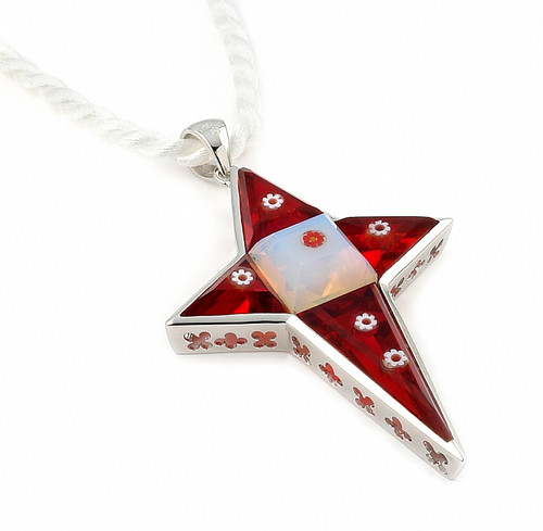 "MURANO GRAND COLLECTION FACETED RED AND WHITE CROSS PENDANT WITH 18"" WHITE SATIN ROPE CORD"