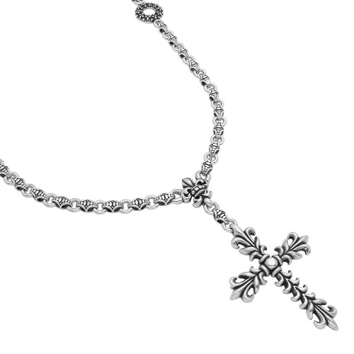 "TWISTED BLADE SILVER 30"" FLEUR DE LIS CROSS NECKLACE"