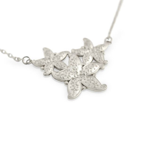 "RHODIUM PLATED STARFISH NECKLACE 16"" + 2"""