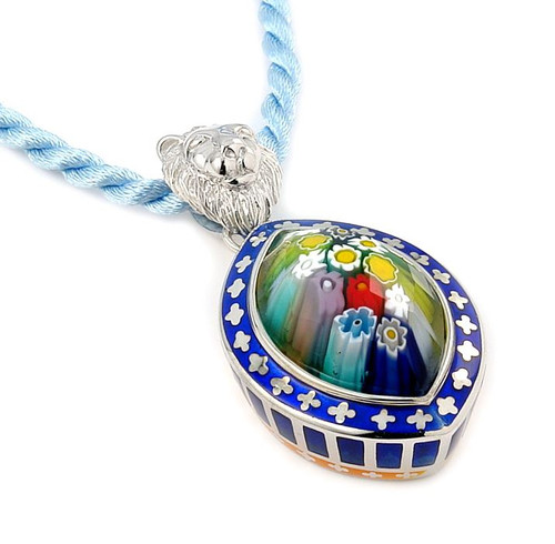 "EXQUISITE COLLECTION FACETED MULTI COLOR MURANO GLASS MARQUISE PENDANT WITH LION BAIL 18"" CORD"