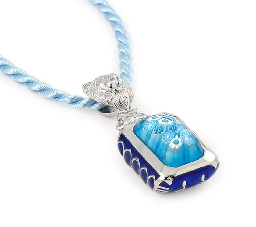 "EXQUISITE COLLECTION FACETED LIGHT BLUE MURANO GLASS RECTANGLE PENDANT WITH LION BAIL AND 18"" CORD"