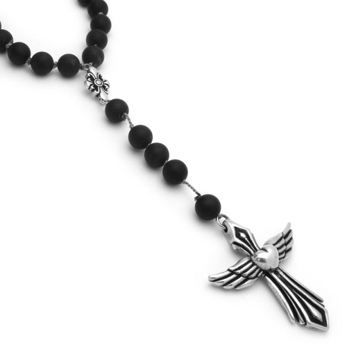"TWISTED BLADE ROSARY NECKLACE WITH LARGE AGATE BEADS AND HEART/WINGS CROSS 28"" + 4"""