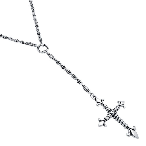"TWISTED BLADE SILVER STUDDED LINK 32"" NECKLACE WITH LARGE FLEUR DE LIS ROPE CROSS"