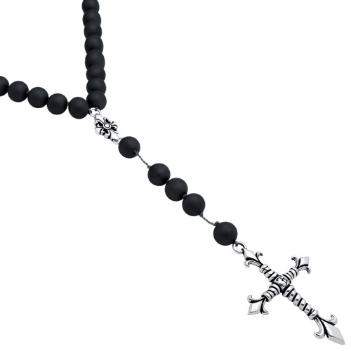 "TWISTED BLADE ROSARY NECKLACE WITH LARGE AGATE BEADS AND CROSS ON GREY STRING, 26"" + 4"""