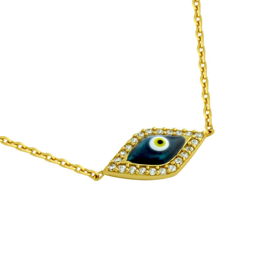 "GOLD PLATED CLEAR CZ EYE NECKLACE WITH DARK BLUE EYE 16"" +1"""