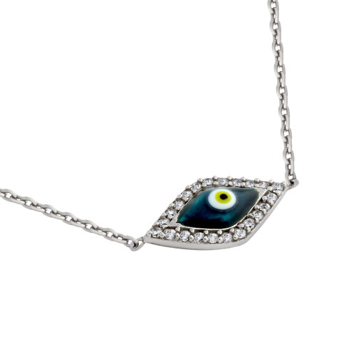 "RHODIUM PLATED CLEAR CZ EYE NECKLACE WITH DARK BLUE EYE 16"" +1"""