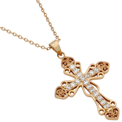 "ROSE GOLD PLATED PAVE CZ INTRICATE CROSS NECKLACE WITH HEARTS 16"" + 2"""