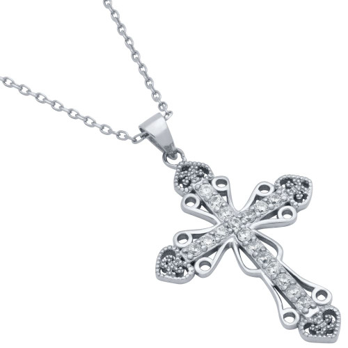 PAVE CZ INTRICATE CROSS NECKLACE WITH HEARTS