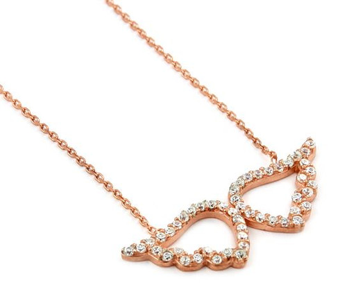 "ROSE GOLD PLATED ANGEL WINGS CZ NECKLACE 16""+1"" ADJUSTABLE"