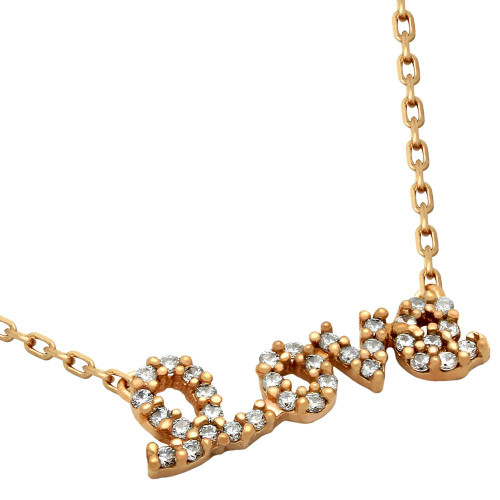 "ROSE GOLD PLATED CZ LOVE NECKLACE 16""+2"" ADJUSTABLE"