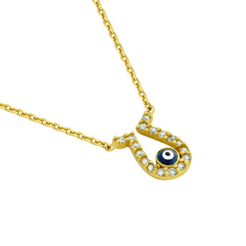 "GOLD PLATED CZ HORSESHOE NECKLACE WITH DARK BLUE EYE 16""+1"""