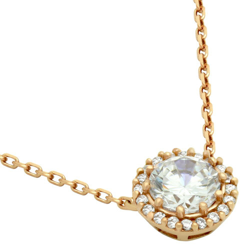 "ROSE GOLD PLATED CZ ROUND NECKLACE 16""+1"" ADJUSTABLE"