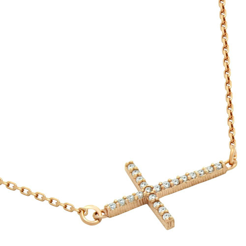 "ROSE GOLD PLATED SIDEWAYS CROSS CZ NECKLACE 16"" + 2"""