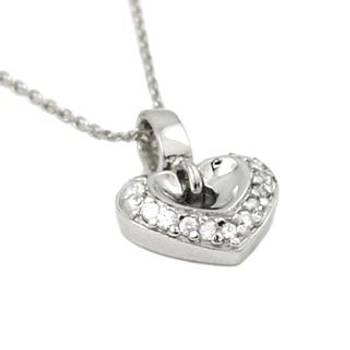 "RHODIUM PLATED SMALL HEART SHAPED CZ NECKLACE 16"" + 2"""