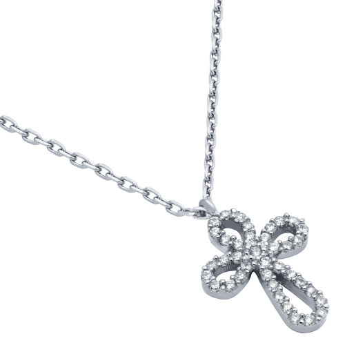 "RHODIUM PLATED ROUNDED CROSS CZ NECKLACE 16"" + 2"""