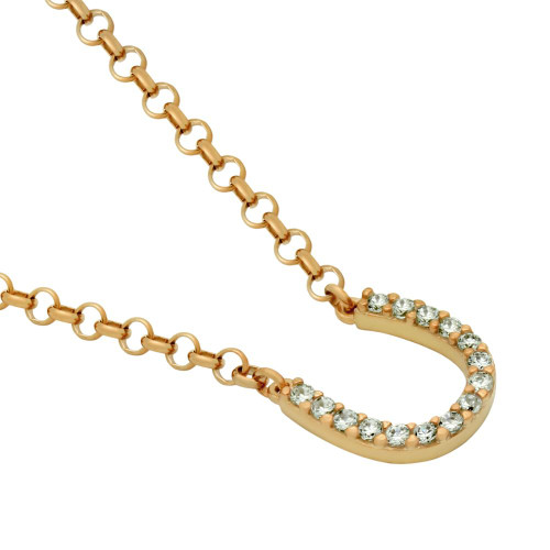 """SMALL ROSE GOLD PLATED CZ HORSESHOE NECKLACE 16"""" + 2"""""""