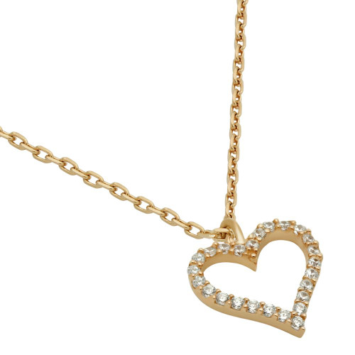 "ROSE GOLD PLATED 13MM CZ OUTLINE HEART NECKLACE 16"" + 2"""