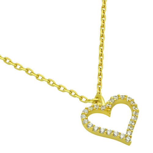 "GOLD PLATED 13MM CZ OUTLINE HEART NECKLACE 16"" + 2"""
