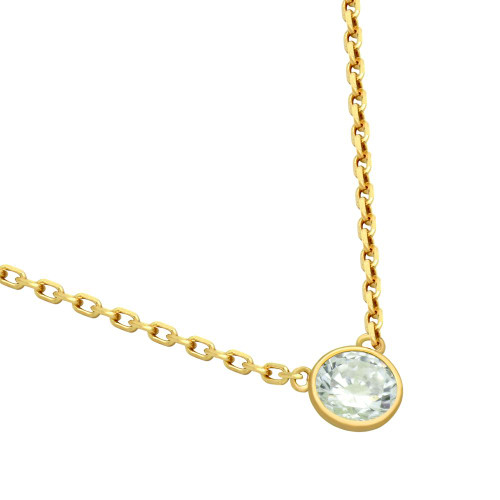 "GOLD PLATED 5MM CZ STONE ON NECKLACE 16"" + 2"""
