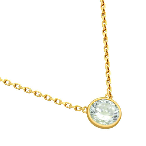 """GOLD PLATED 6.5MM CZ STONE ON NECKLACE 16"""" + 2"""""""