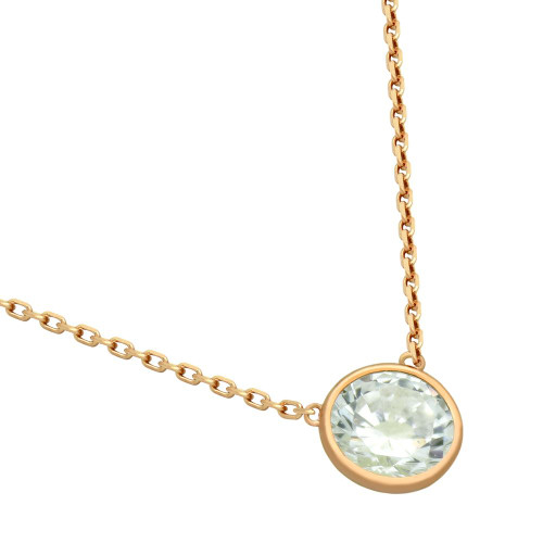"ROSE GOLD PLATED 7.5MM CZ STONE ON NECKLACE 16"" + 2"""