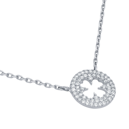 """RHODIUM PLATED CZ CUT OUT CLOVER NECKLACE IN 16"""" + 2"""""""