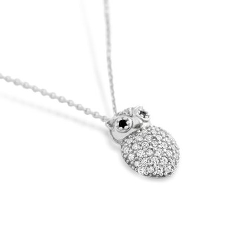 "RHODIUM PLATED CZ OWL NECKLACE IN 16"" + 2"""