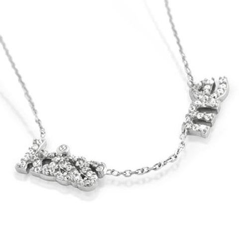 "RHODIUM PLATED CZ KISS ME NECKLACE IN 16"" + 2"""