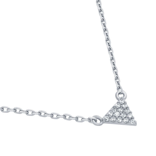 "RHODIUM PLATED CZ TRIANGLE NECKLACE 16"" + 2"""