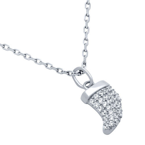 "RHODIUM PLATED CZ HORN NECKLACE 16"" + 2"""