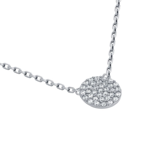 """RHODIUM PLATED 9MM CZ PAVE DISK NECKLACE 16"""" + 2"""""""