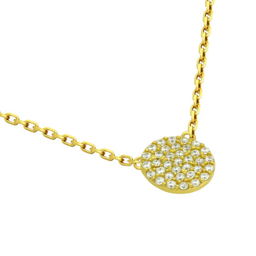 "GOLD PLATED 9MM CZ PAVE DISK NECKLACE 16"" + 2"""