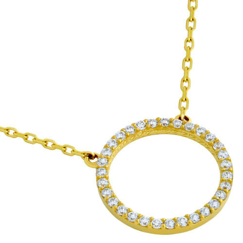"""GOLD PLATED 18MM CZ ETERNITY CIRCLE NECKLACE 16"""" + 2"""""""