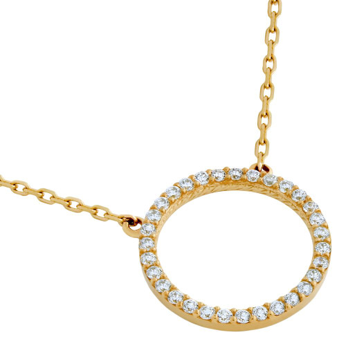 """ROSE GOLD PLATED 18MM CZ ETERNITY CIRCLE NECKLACE 16"""" + 2"""""""