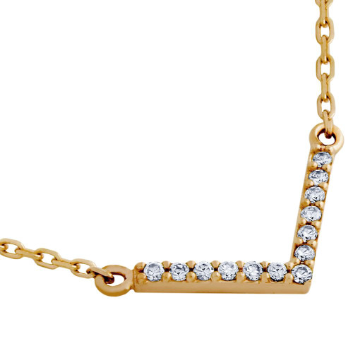 "ROSE GOLD PLATED ""V"" CHEVRON CZ NECKLACE 16"" + 2"""