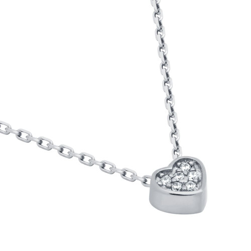 """RHODIUM PLATED HEART CZ CLUSTER NECKLACE 16"""" + 2"""""""
