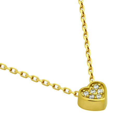 "GOLD PLATED HEART CZ CLUSTER NECKLACE 16"" + 2"""