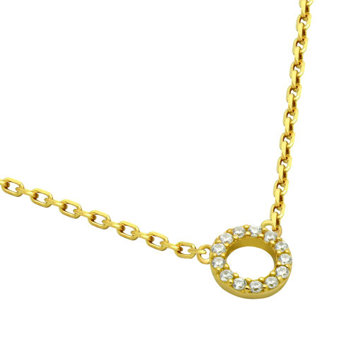 """GOLD PLATED 7MM CZ ETERNITY CIRCLE NECKLACE 16"""" + 2"""""""