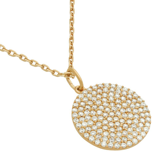 "ROSE GOLD PLATED 17MM MEDIUM CZ DISK NECKLACE 16"" + 2"""
