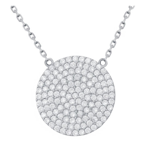"RHODIUM PLATED 21MM LARGE CZ DISK NECKLACE 16"" + 2"""