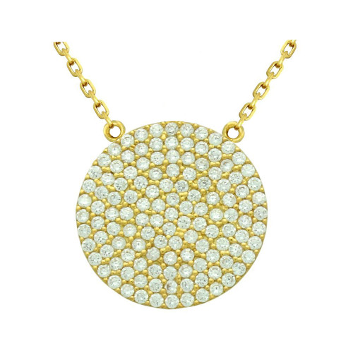 "GOLD PLATED 21MM LARGE CZ DISK NECKLACE 16"" + 2"""