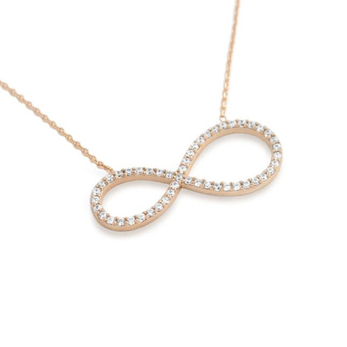 "ROSE GOLD PLATED CZ PAVE INFINITY SYMBOL NECKLACE 16"" + 2"