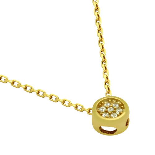 """GOLD PLATED ROUND CZ CLUSTER NECKLACE 16"""" + 2"""""""